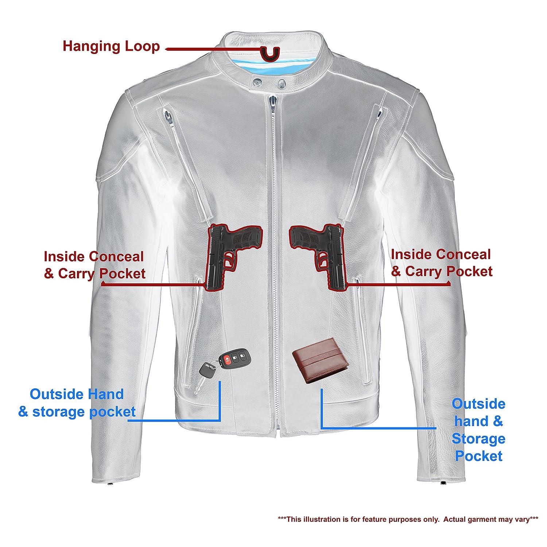 Black, Large Milwaukee Mens Premium Leather Vented Scooter Jacket
