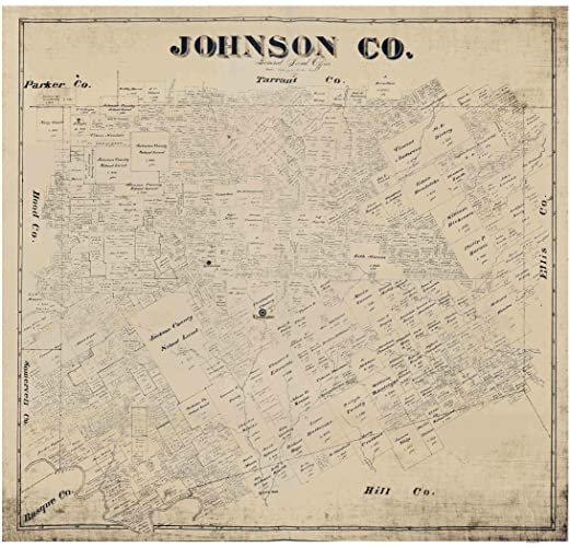 Old Map Of Texas.Amazon Com Johnson County Texas 1887 Old Wall Map Reprint With
