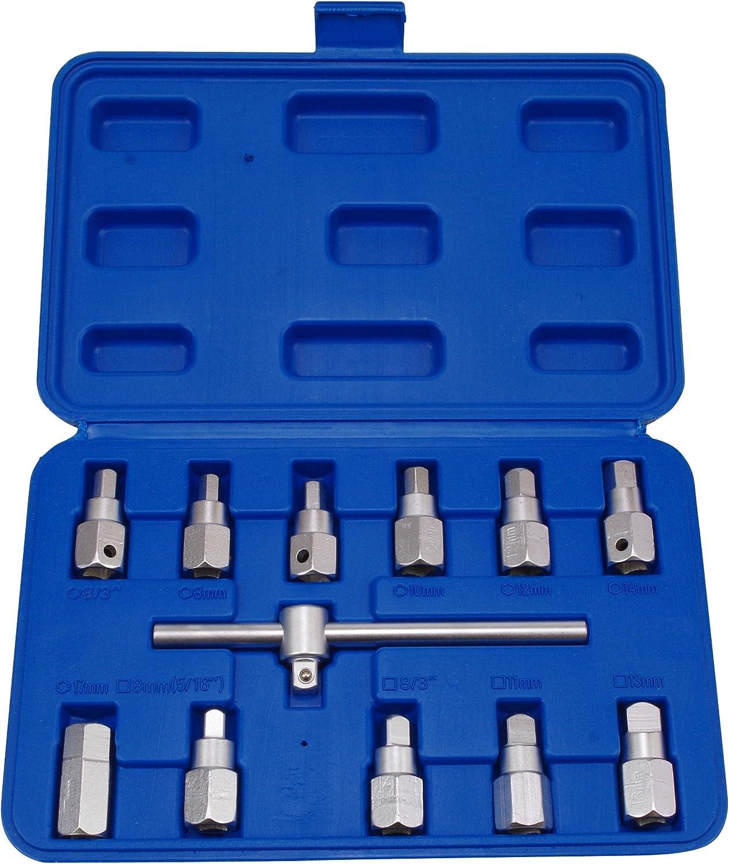 Öldienst Ölwannen Schlüssel Vierkant Sechskant Spezialeinsatz Ölablass Schraube Werkzeug Auto