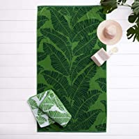 Deals on Welhome Jacquard Beach Towel Set of 2