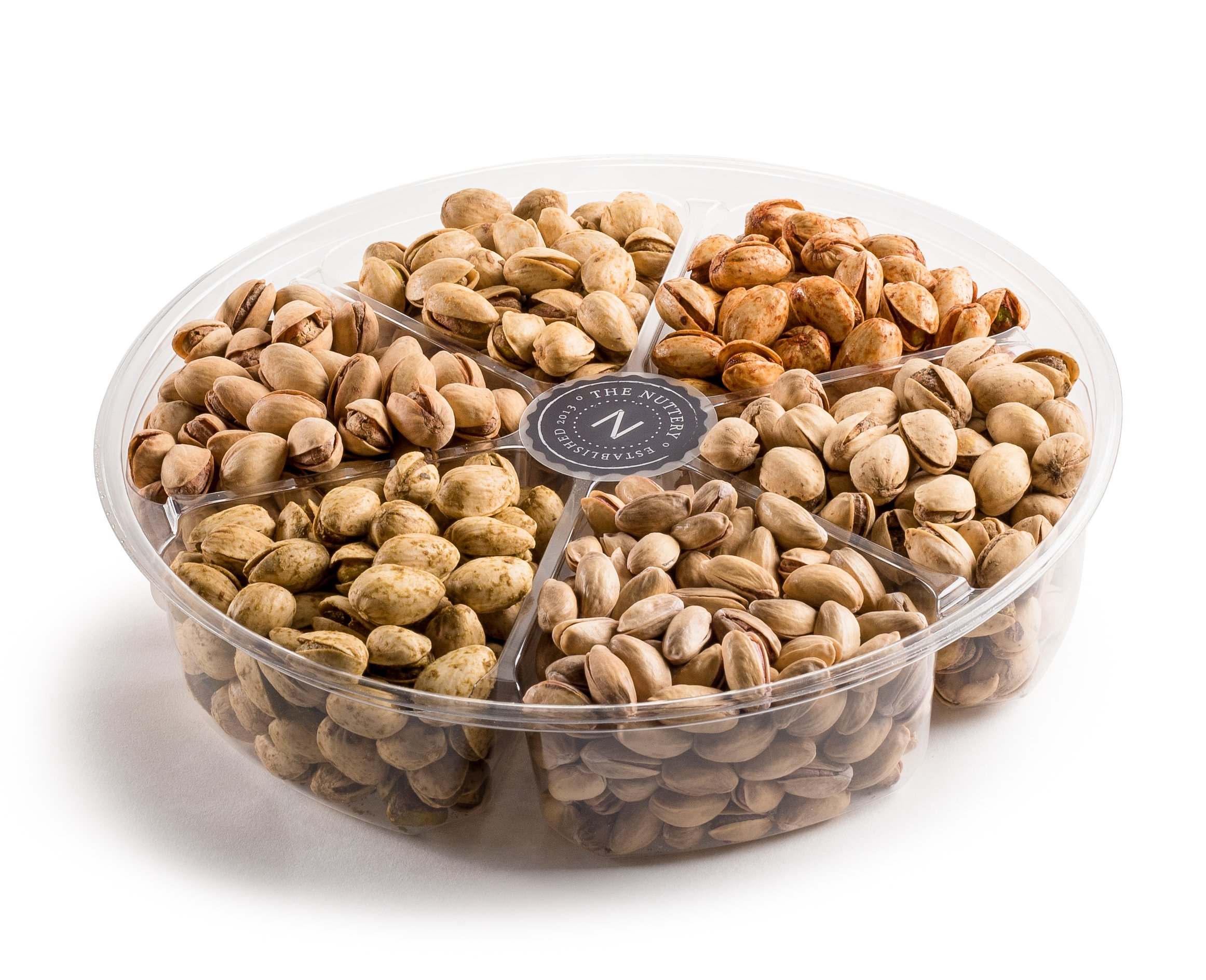 The Nuttery Assorted Pistachios Gift Tray in 6 Flavors: Turkish, Jalapeno, Onion Garlic, Salt & Pepper, Chile, and Roasted & Salted Pistachio Nuts