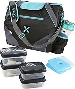 Fit & Fresh Jaxx FitPak Ares Gym/Meal Prep Bag with Leakproof Portion Control Container Set and Ice Pack, Teal