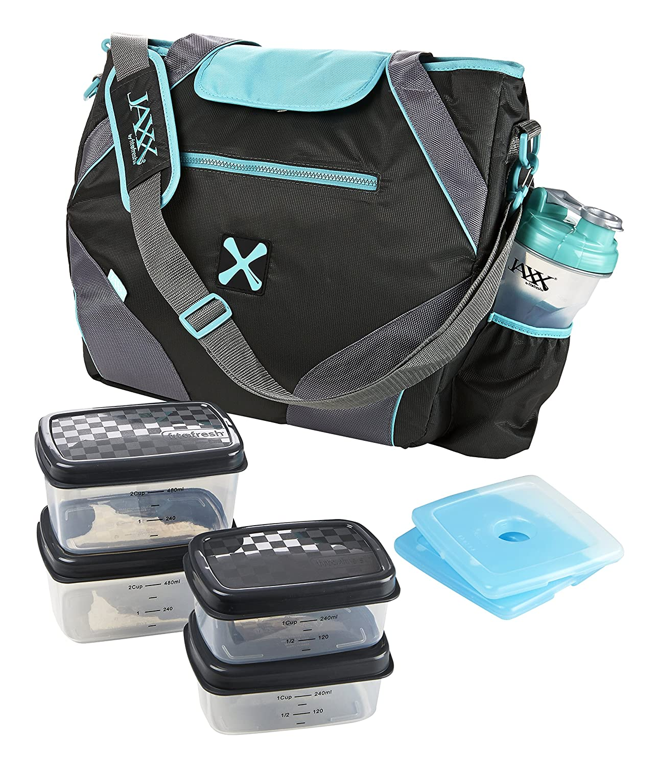 Amazon.com Fit u0026 Fresh Jaxx FitPak Ares Gym/Meal Prep Bag with Leakproof Portion Control Container Set and Ice Pack Purple Kitchen u0026 Dining  sc 1 st  Amazon.com & Amazon.com: Fit u0026 Fresh Jaxx FitPak Ares Gym/Meal Prep Bag with ...