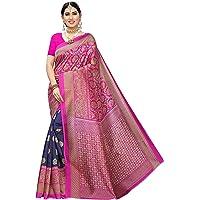 TreegoArt Fashion Women,s Kalamkari Art Silk Printed Pattern Saree With Unstiched Blouse Piece