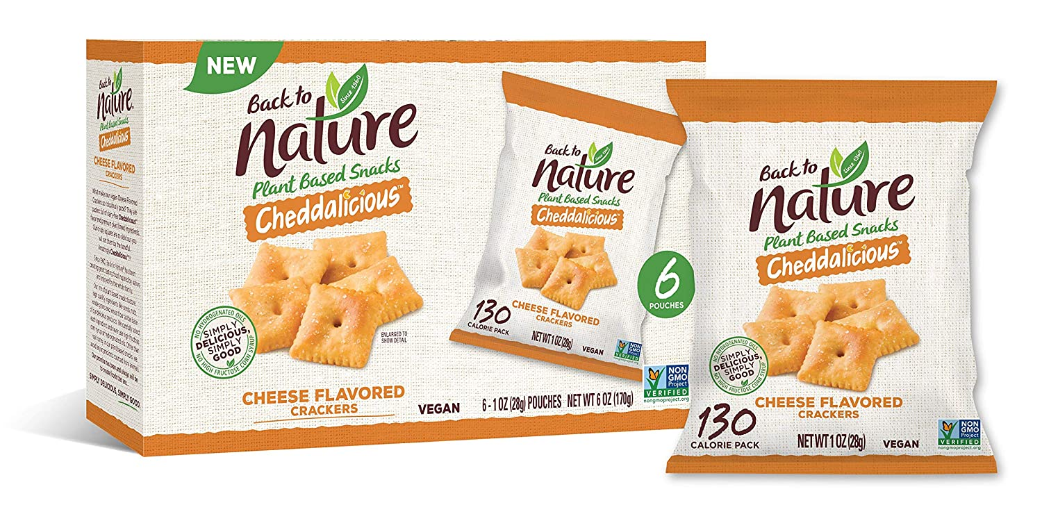 Back to Nature Crackers, Crispy Cheddar, 1 Ounce Grab & Go Bags, 6 Count (Packaging May Vary)