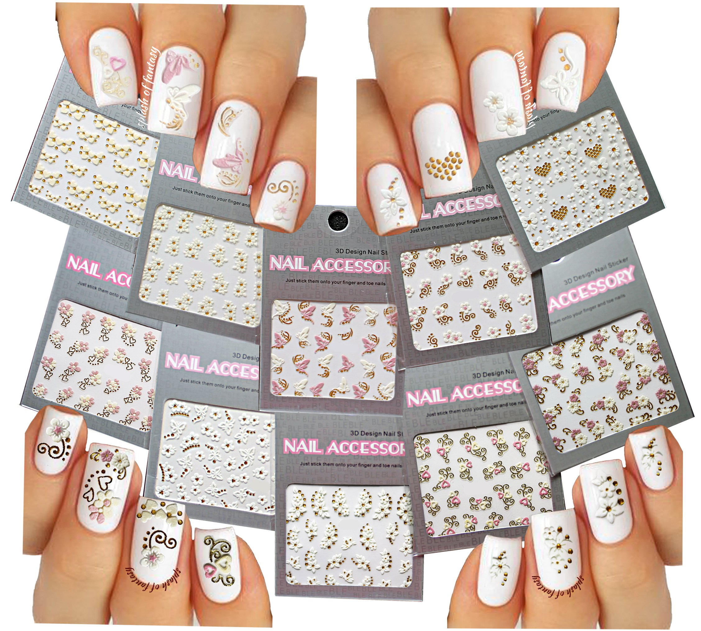 Amazon.com: Adorable 3D Glitter Stickers For Nail Art 10-pack ...