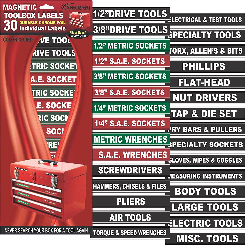 Steellabels MAGWH001'Magnetic' Tool Box Organizer 30 Labels Green Edition-2 Sheet Set