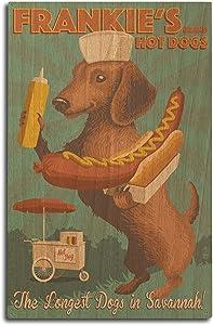 Lantern Press Savannah, Georgia - Dachshund - Retro Hotdog Ad (10x15 Wood Wall Sign, Wall Decor Ready to Hang)