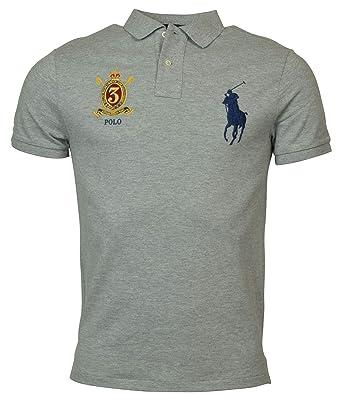 bb3bf4286428 Polo Ralph Lauren Mens Custom Slim Fit Big Pony Crest Polo Shirt (Small,  Grey