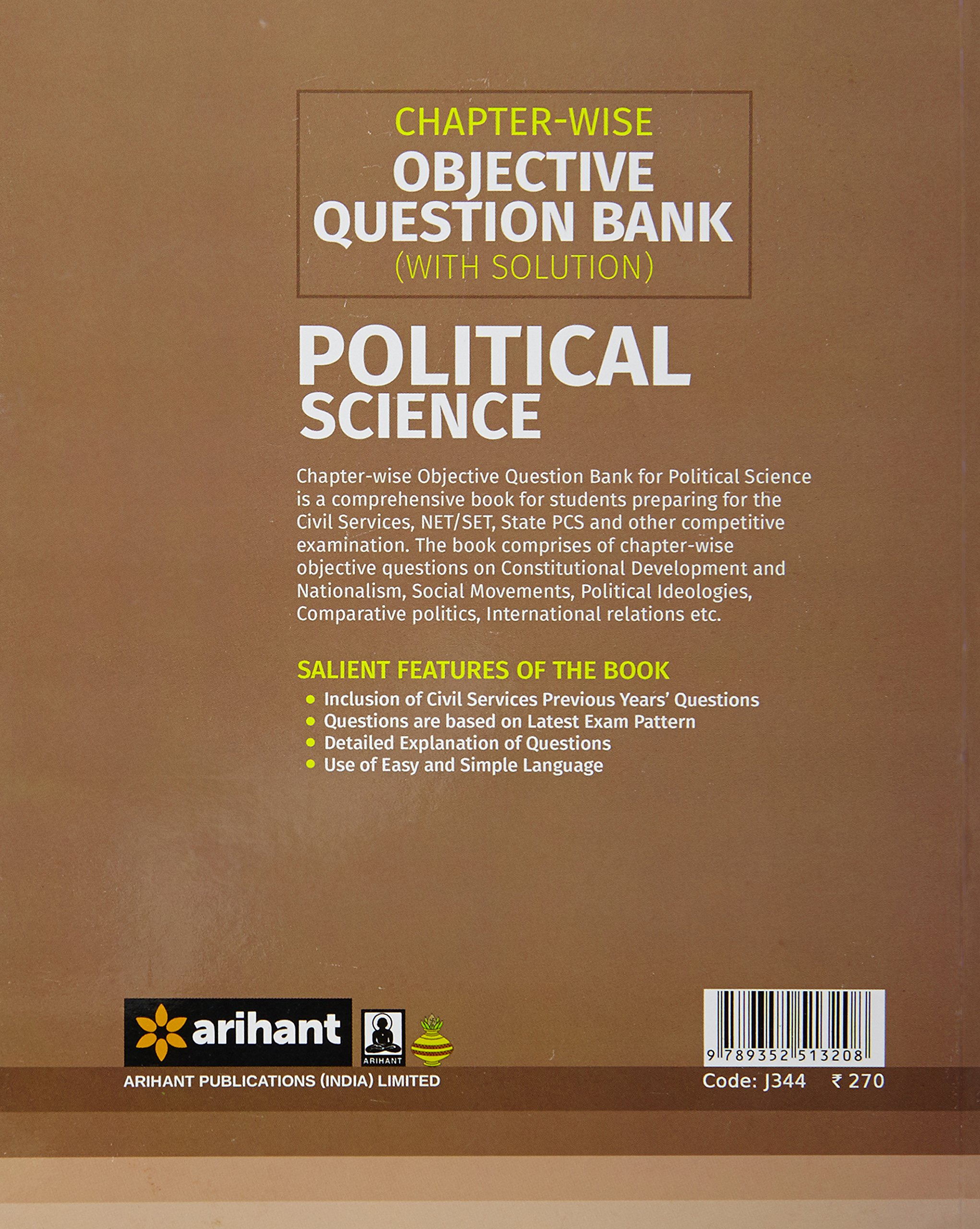 Buy Chapter-wise Objective Question Bank(With Solution) Poltical