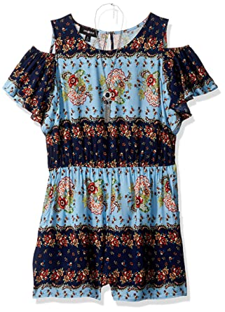 d68a5ad43c3b Amazon.com  Amy Byer Girls  Big Cold Shoulder Print Romper