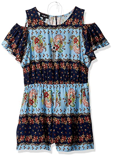 fee9c52f565 Amazon.com  Amy Byer Girls  Big Cold Shoulder Print Romper