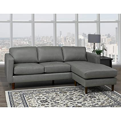 Amazon.com: Overstock Des Mid Century Modern Grey Top Grain Leather ...