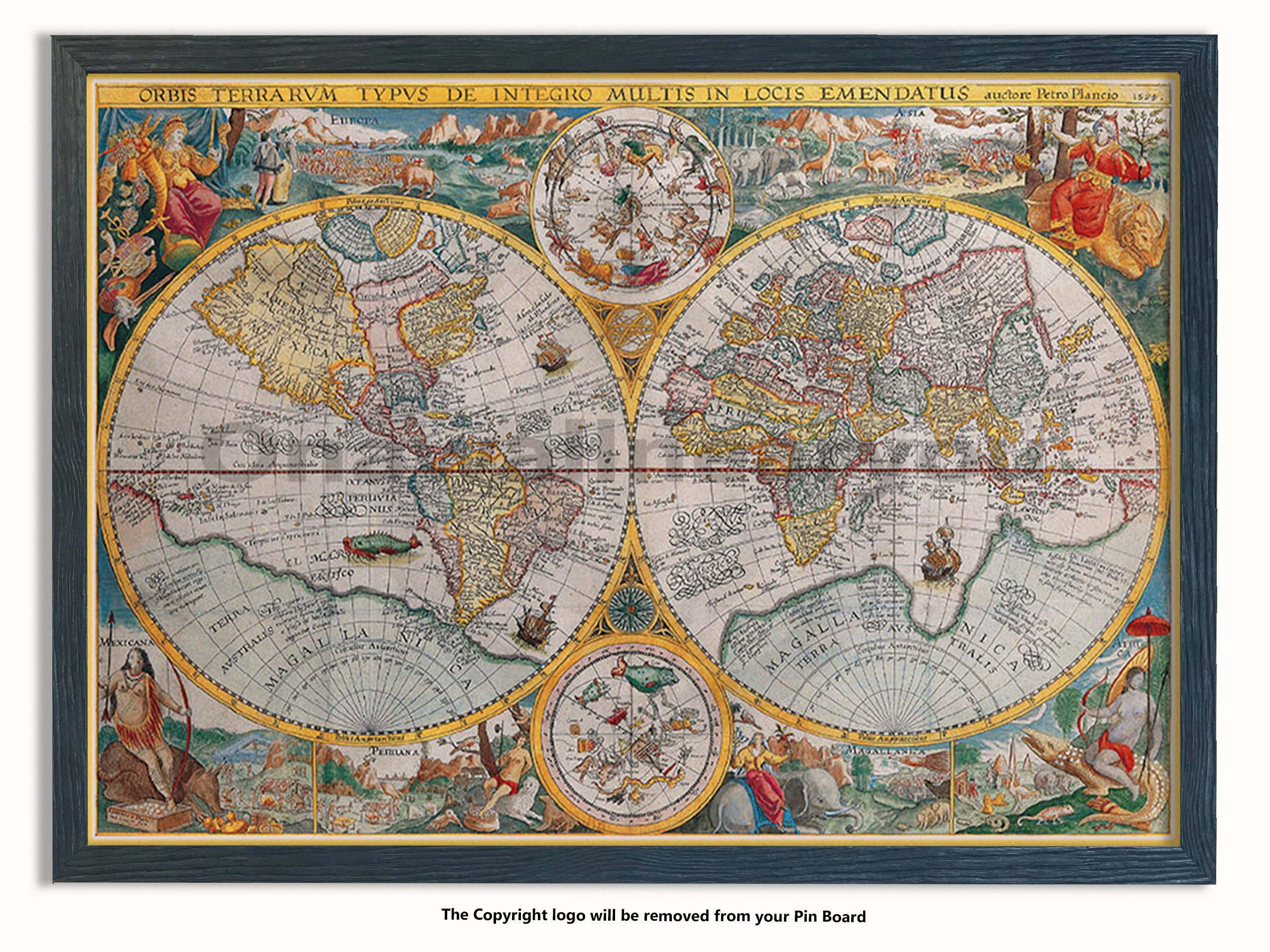 Laminated Posters Framed - Vintage Style World Map - 16th Century - Push Pin Memo Notice Board - Black Driftwood Effect - Matt Finish - Measures 96.5 x 66 cms (38 x 26 Inches - Approx)
