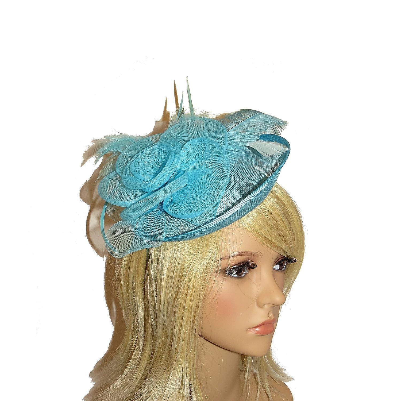 241c8b0e3d3f9 BEAUTIFUL LARGE AQUA ROSE STYLE HAIR FASCINATOR HATINATOR - WEDDINGS ... Turquoise  Fascinators
