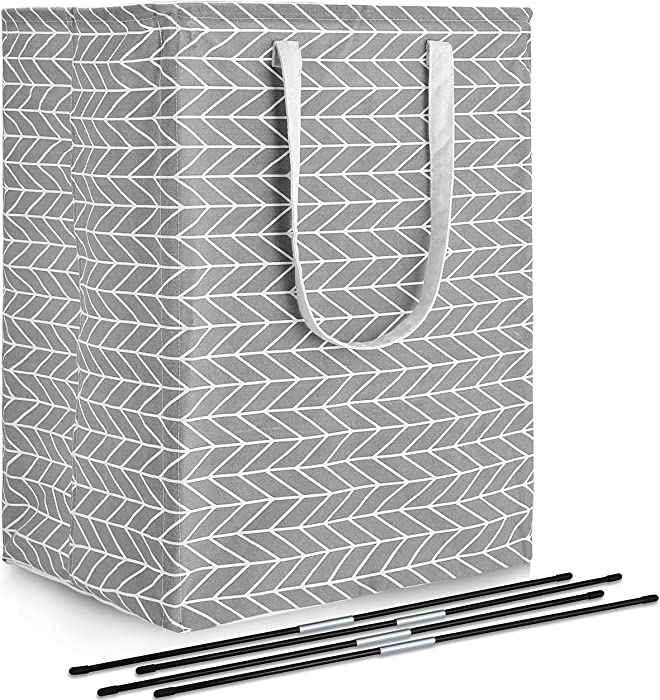 DYD Laundry Basket with Handles Extra Large Capacity Foldable Linen Clothes Hamper with Detachable Rods Waterproof Collapsible Storage Bin for Blankets Clothing Toys in Bedroom, Bathroom (96L)