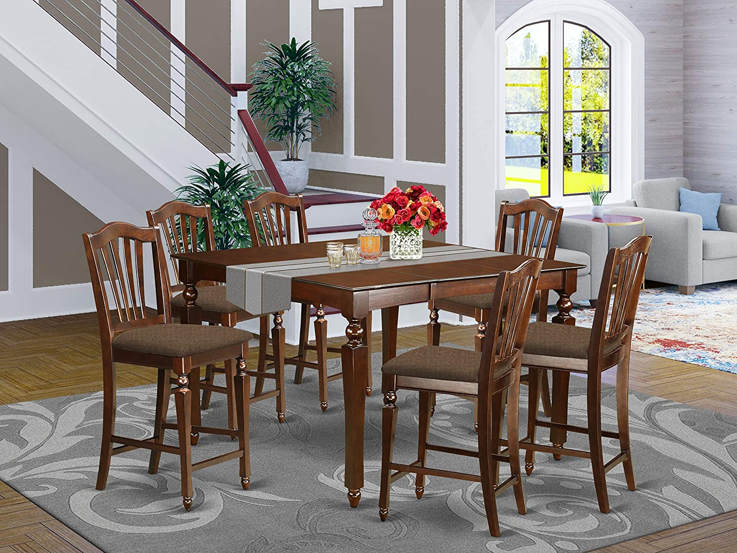 East West Furniture CHEL7-MAH-C Pub Square Counter Height 6 Stools Set 7 Pc-Linen Fabric Wood Kitchen Chairs Seat-Mahogany Finish Dining Room Table and Body