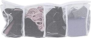 Home-X 4-Section Mesh Laundry Bag, Small Divided Meshed Bag for Washing Delicates