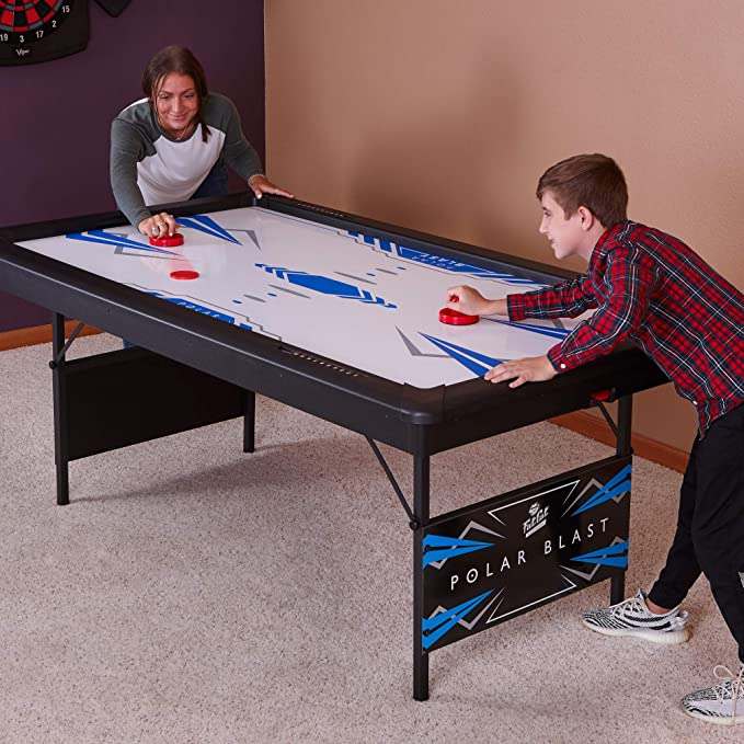 Polar Blast 6' Air Hockey Table with Folding Legs for Easy Storage and Included
