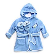 Spasilk 100% Cotton Hooded Terry Bathrobe with Booties, Blue Plane, 0-9 Months
