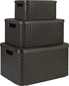 KETER Curver Style Basket Set of 3 Rectangular Resin Wicker Organization and Storage Bins with Lids, Small, Medium and Large in, Espresso Brown