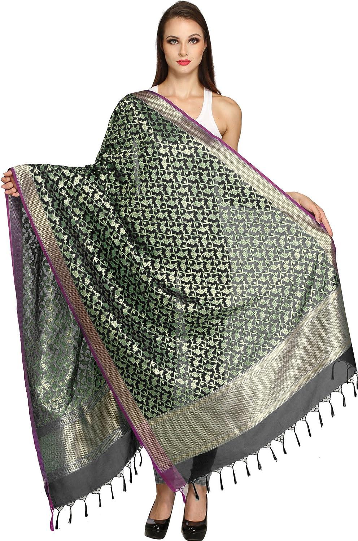 Exotic India Banarasi Brocaded Dupatta with Floral Weave in Zari Thread SWI54--caviar-black