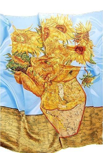 Prettystern - 100cm handrolled sciarpa di seta piazza - Van Gogh - Dodici girasoli in un vaso - blu