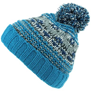 c6b72742255504 Hawkins Children's Chunky Knit Fairisle Bobble Beanie Hat with Fleece  Lining - Blue: Amazon.co.uk: Clothing