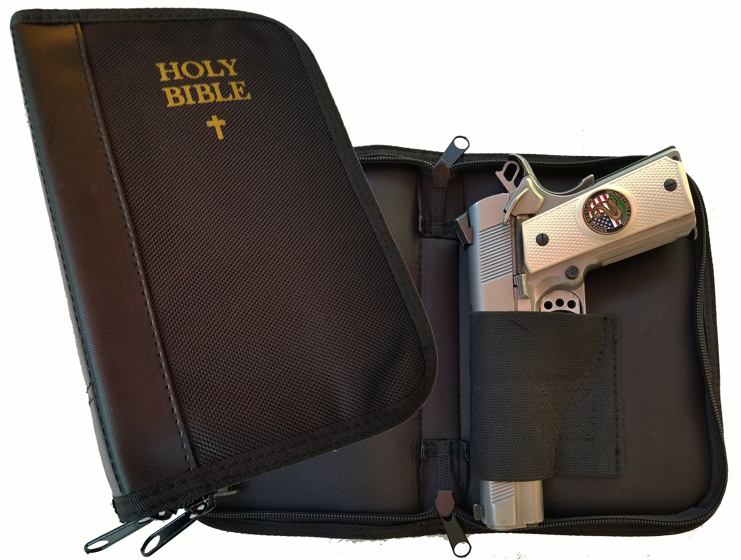 Garrison Grip Faux Leather Bound Bible Gun Case For Concealed Carry Or Bookshelf With Gold Leaf Lettering for Large to Small Sized Guns