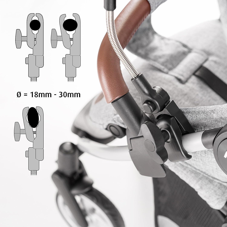 Silla de paseo Parasol flexible con soporte para tubos redondos y ovalados // Protecci/ón UV50+ color gris Sombrilla Universal Carrito de beb/é 73 cm di/ámetro Zamboo