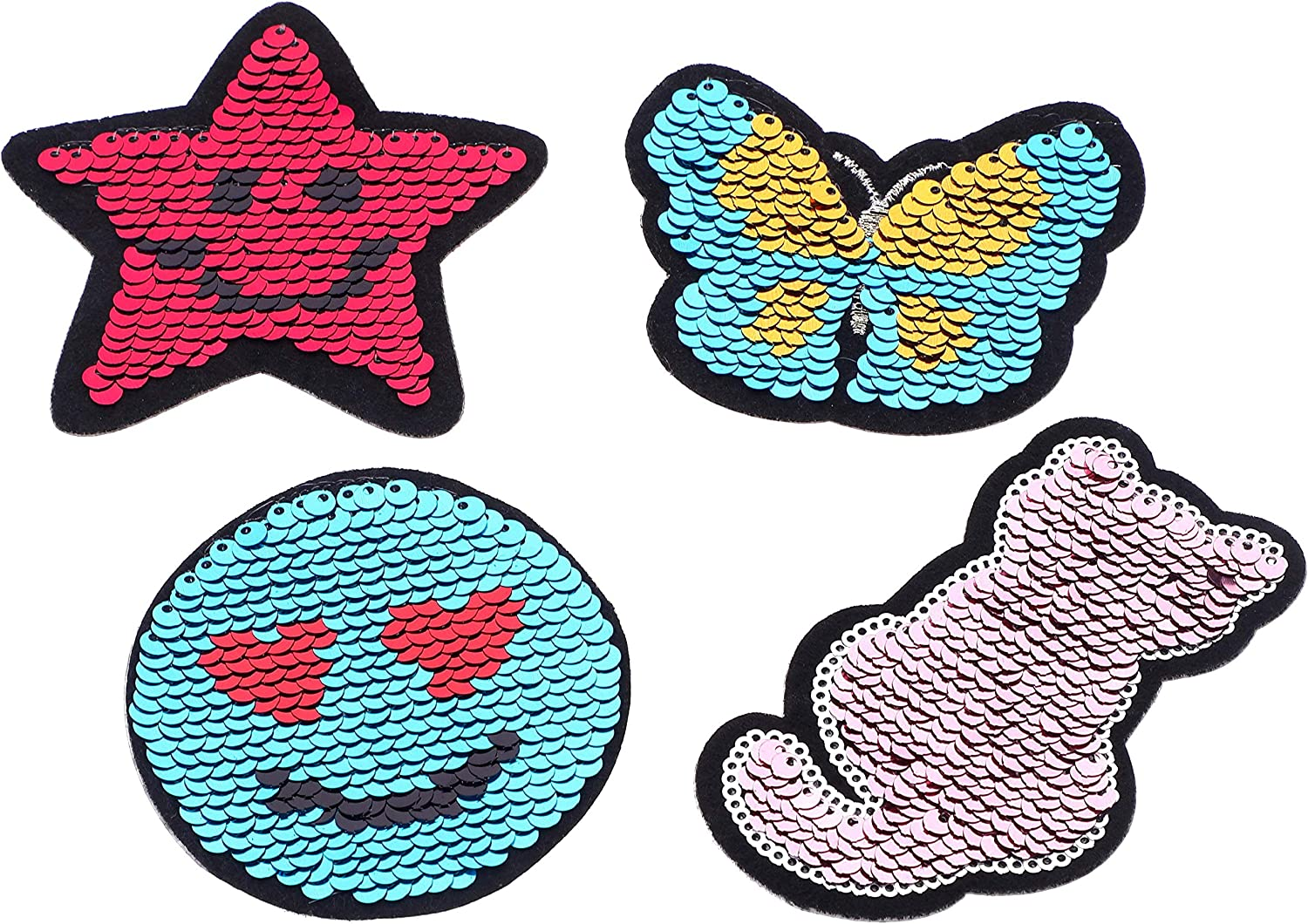 Sublimation Heart and Circle Flip Sequins Adhesive Patch Reversible Sequin White Heart and Circle