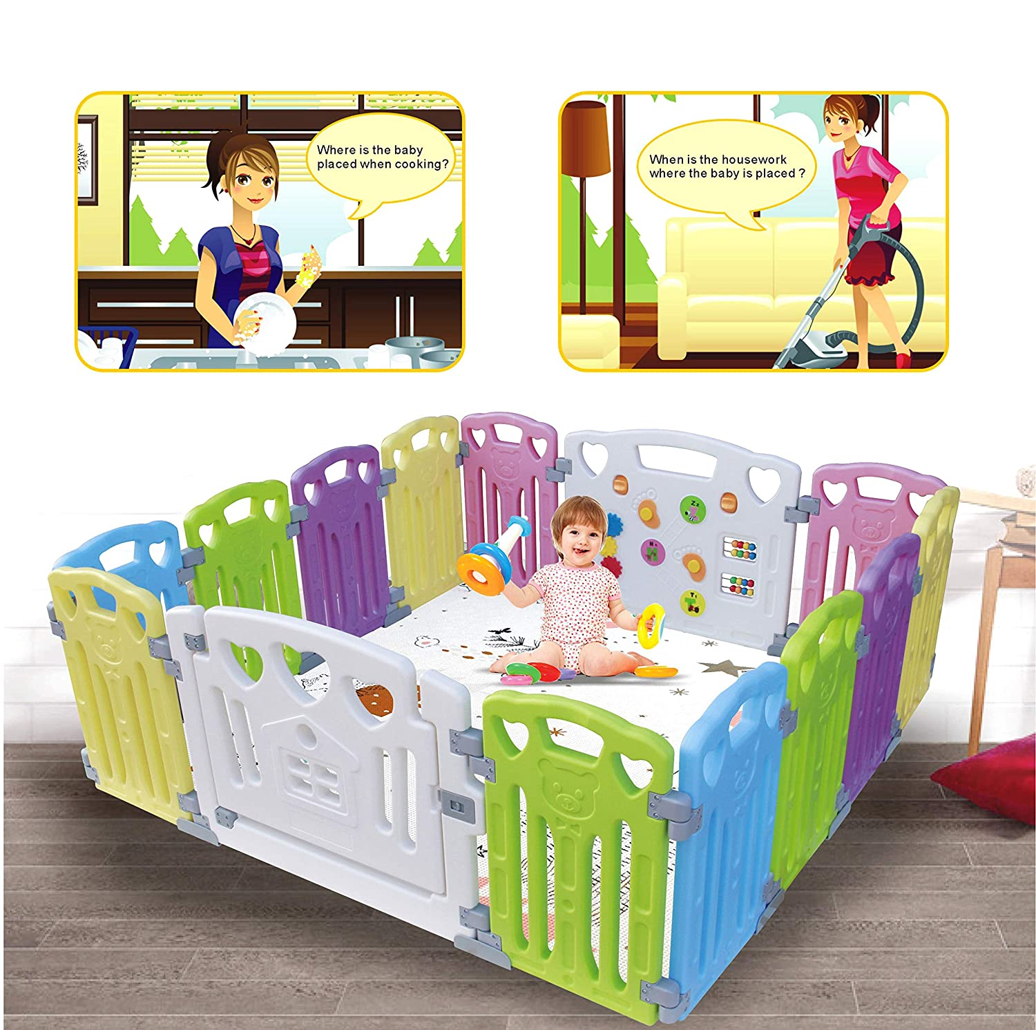 Baby Playpen Kids Activity Centre Safety Play Yard Home Indoor Outdoor New Pen multicolour, Classic set 14 panel