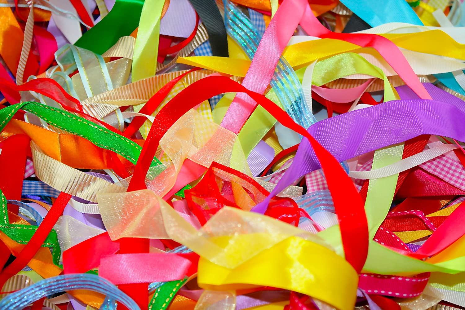 Assorted Ribbon, Various Colours , Approx 25m Per Bag Anycraft-UK