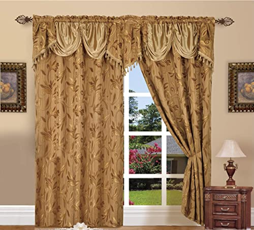 Elegance LinenLuxury Design Jacquard Curtain Panel Set with Attached Valance 55 X 84 inch Set of 2 , Gold