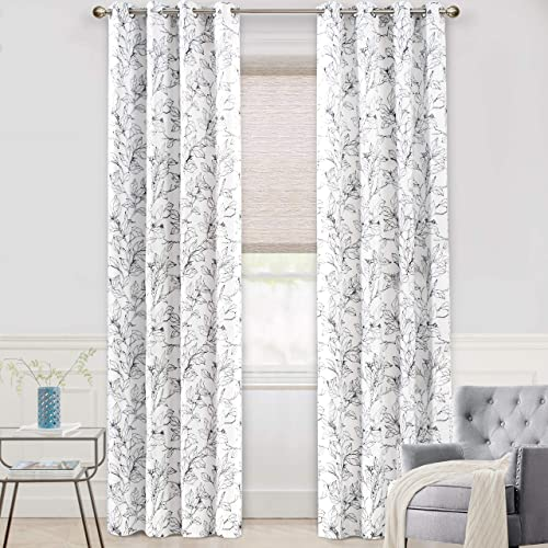 DriftAway Ryan Sketch Branch Leaves Blackout Room Darkening Grommet Lined Thermal Insulated Energy Saving Window Curtains 2 Layers 2 Panels Each 52 Inch