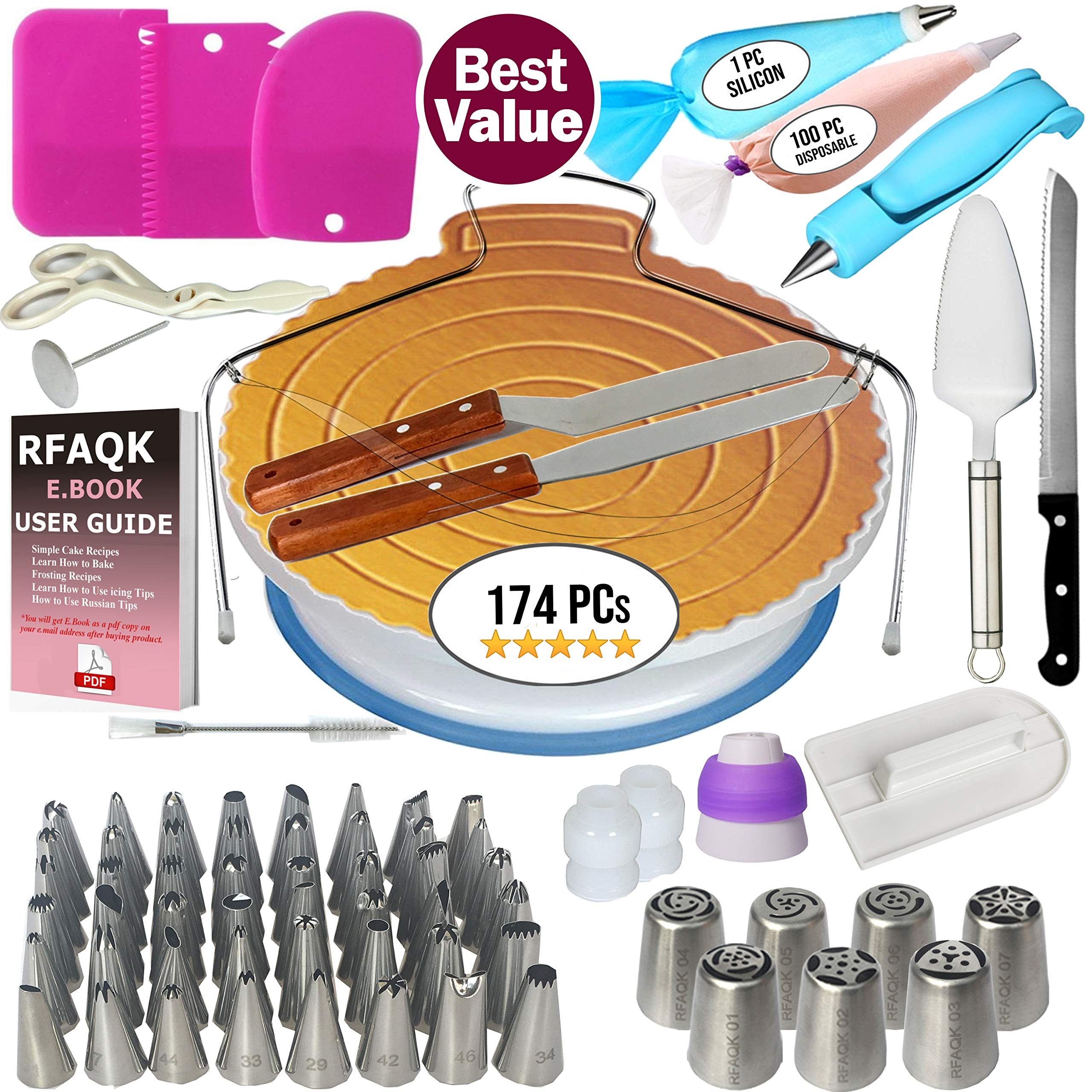 174 PCs Cake Decorating Supplies Kit for Beginners-1 Turntable stand- Cake server & knife set-48 Numbered Easy to use icing tips with pattern chart and E.Book-7 Russian Piping nozzles -2 Spatulas by RFAQK