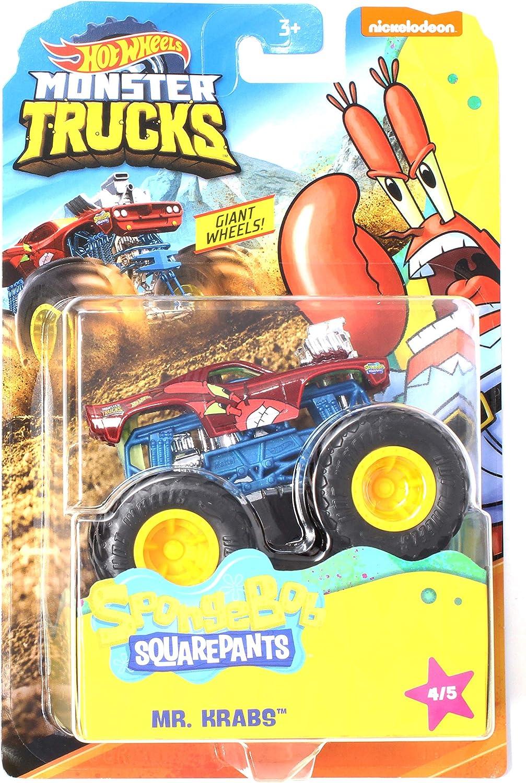 Amazon Com Hw Monster Trucks Mr Krabs Spongebob Squarepants Series 4 5 Giant Wheels 1 64th Scale 2020 Toys Games