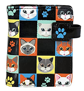 Shagwear Cat Themed Small Zipper Bi Fold Wallet Cat Checkers Black