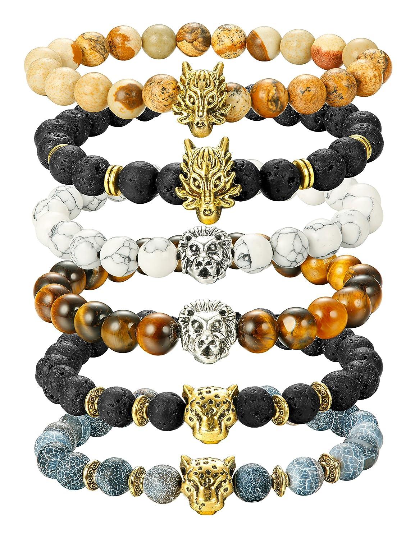 Finrezio 6PCS Mens Bead Bracelets Set Dragon/Lion/Panther Charm Lava Rock Natural Stone Bracelet, 8MM