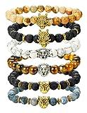 Amazon Price History for:Finrezio 6PCS Mens Bead Bracelets Set Dragon/Lion/Panther Charm Lava Rock Natural Stone Bracelet, 8MM