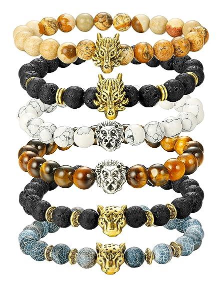 Finrezio 6 Pcs Mens Bead Bracelets Set Dragon/Lion/Panther Charm Lava Rock Natural Stone Bracelet, 8 Mm by Finrezio