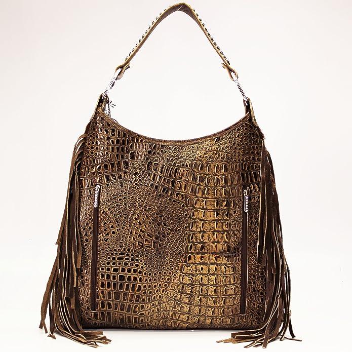 0e29206b02ea Raviani Brown and white Brindle leather Hobo Bag W/Fringe & Silver studs