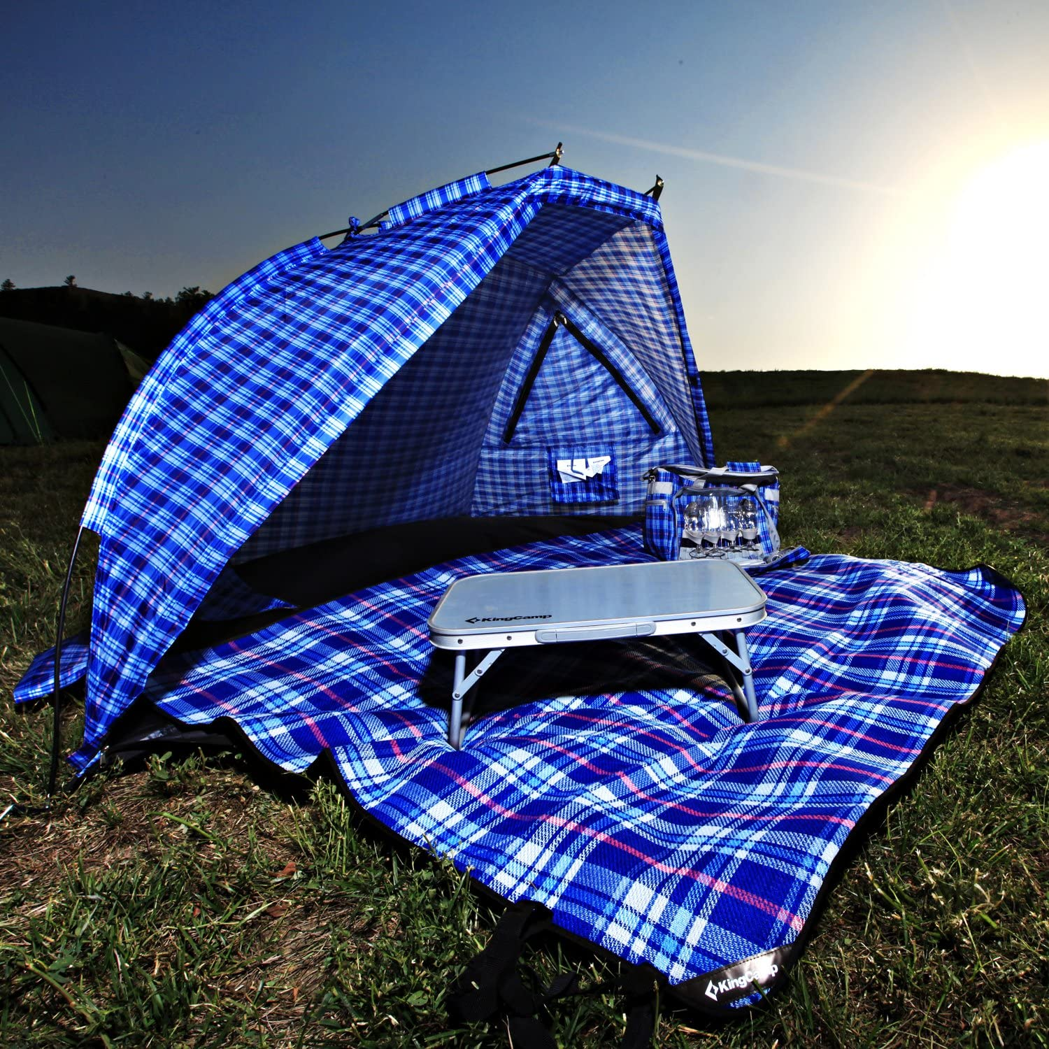 KingCamp Beach Tent Sun Shelter 2 Person with Carry Bag Anti UV Windproof Stable on Beach or Backyard for Fishing Hiking Camping
