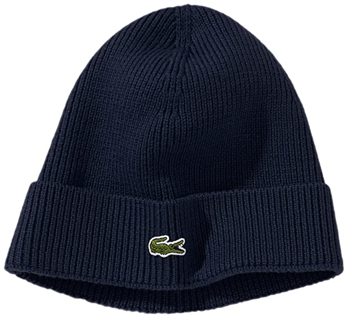 a4d4869a27c6c Lacoste Men s Ribbed Beanie with Flap Accessories  Amazon.co.uk  Clothing