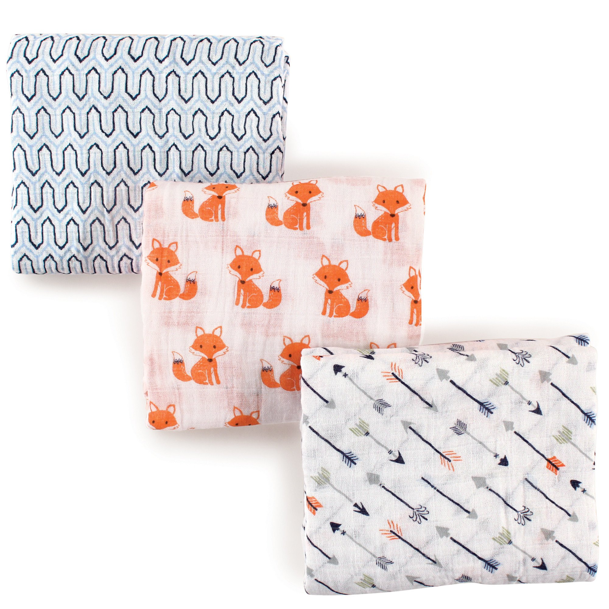 Hudson Baby Unisex Baby Muslin Swaddle Blankets, Foxes 3 Pack, One Size by Hudson Baby