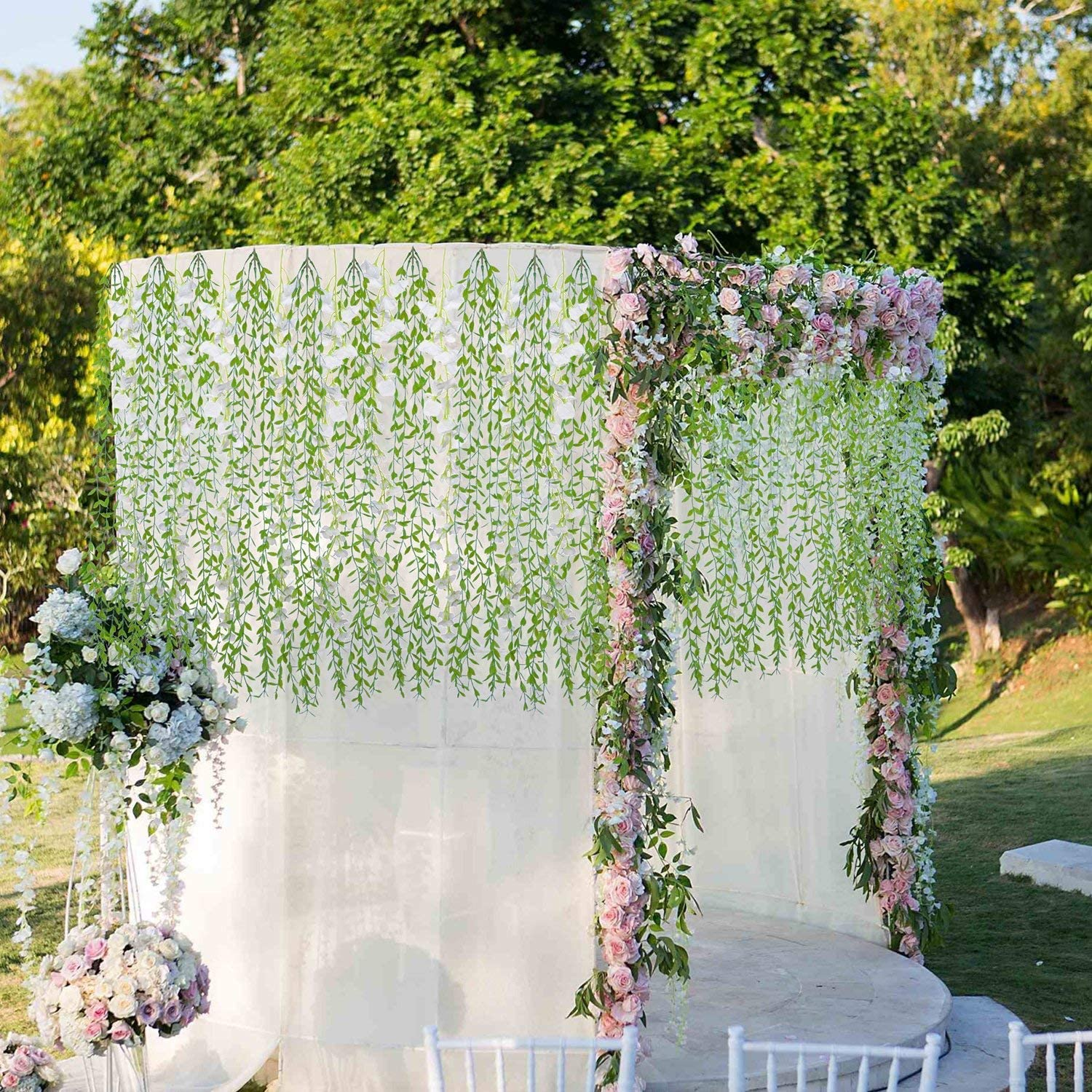 Artificial Plants 28Ft 3.5 Ft//Piece 8 Pack Eokeanon Garland Greenery Fake Hanging Leaves Artificial Leaves for Outdoor Wedding Party Garden Home Wall Decoration