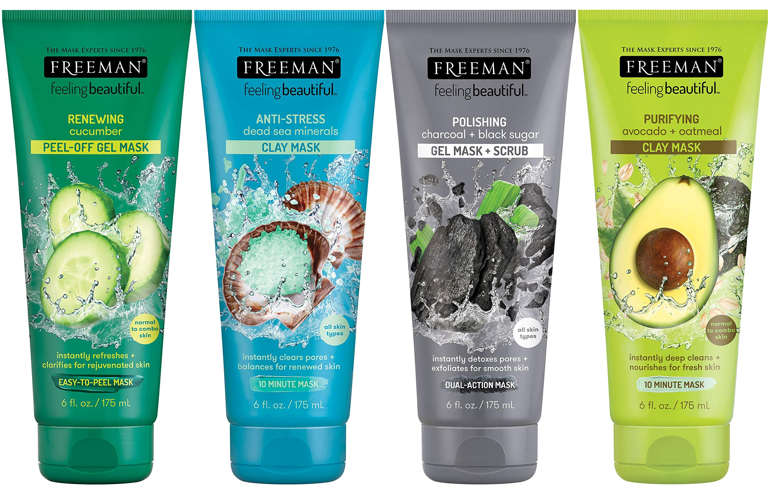 Freeman Facial Mask Variety Pack: Oil Absorbing Clay, Renewing and Moisturizing Peel Off, Polishing Charcoal Beauty Face Masks , 6 fl oz, 4 Pack