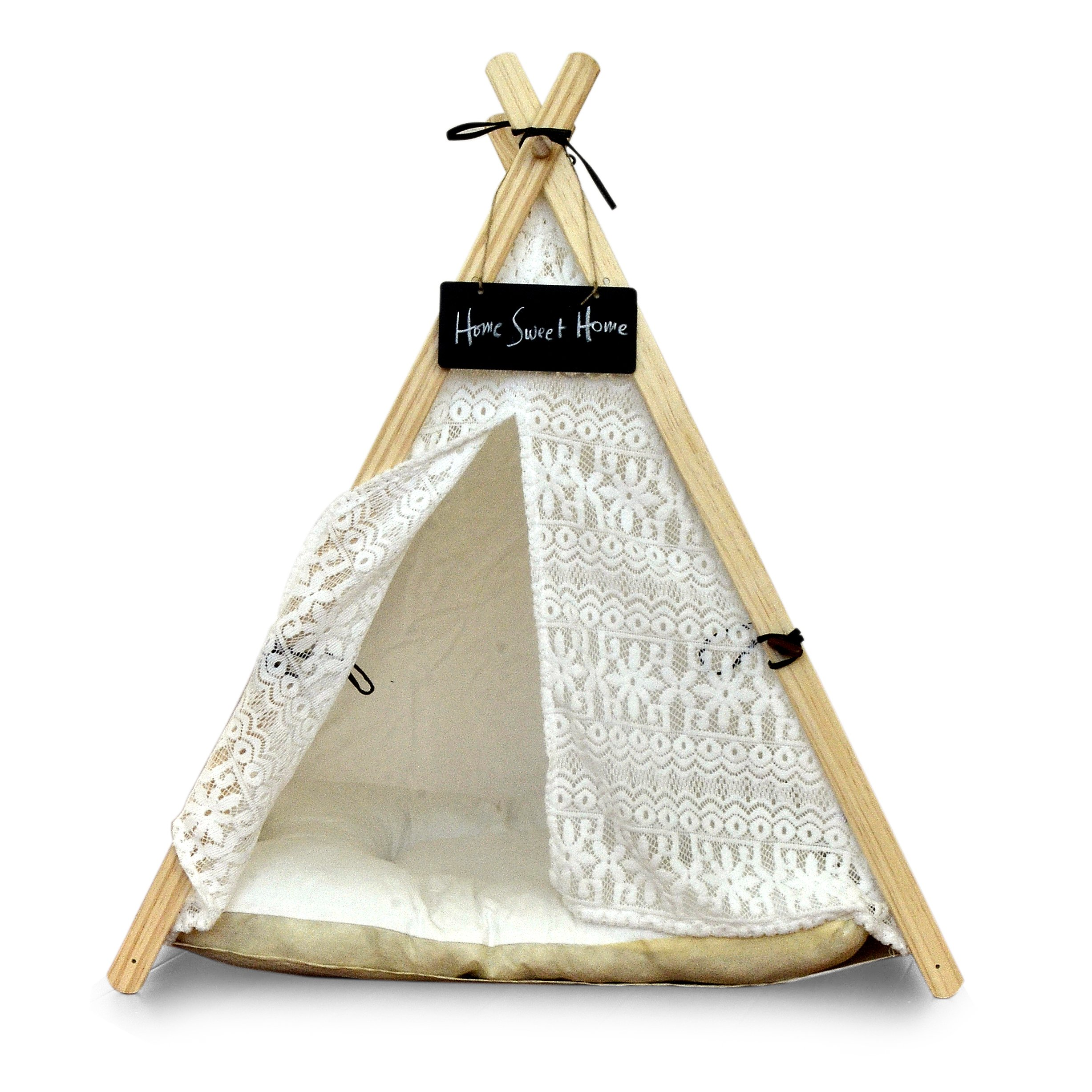 LUVE Large Pet Teepee Dog(Puppy) & Cat Bed, Pet Tents Houses for Dog(Puppy) & Cat with Removable Cushion Pad & Gifts (Lace)