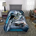 Warner Bros Edredón Reversible de Microfibra Suave, con Tema de Batman, Individual/matrimonial, Gris/Azul