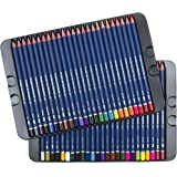 Pluqis Premium Art Colored Pencils, Set of 50 Colors in Tin Case | Pre-Sharpened & Richer Artist-Grade Pigments for College Students, School Supplies and Adults Coloring and Drawing Books